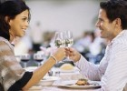 Couple out for Dinner with Wine