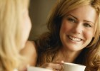 Lady with Coffee Talking